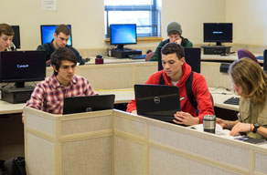 Gillette College students working in class on computers