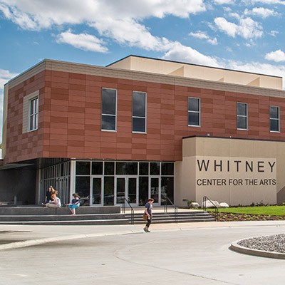 The outside of the Whitney Center for the Arts building on Sheridan College campus.